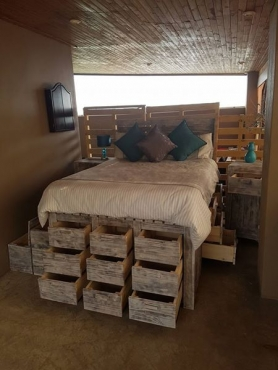 Bed base with 21 storage drawers