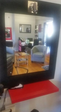Selling 3x beautiful black velvet framed mirrors with attached downlights