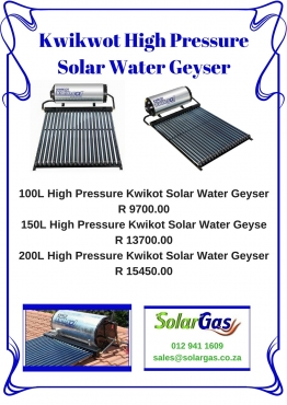 Kwikot High Pressure Solar Water Geyser Available From R9