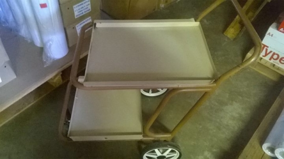 metal drinks trolley with three wheels