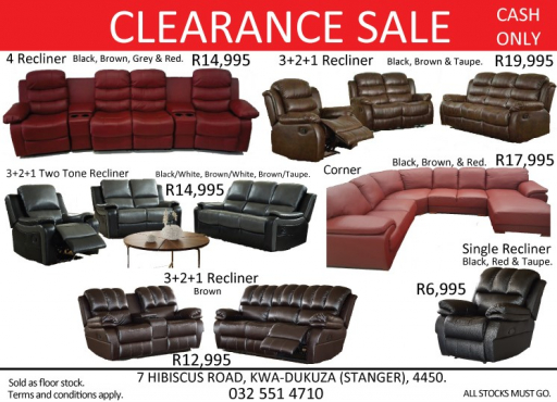 Clearance sale on recliner lounge suites.