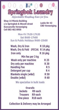 Laundry Service Vereeniging Wash, Dry & Iron