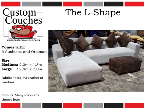 Showroom Open Today at Custom Couches - The L Shape Large R6450