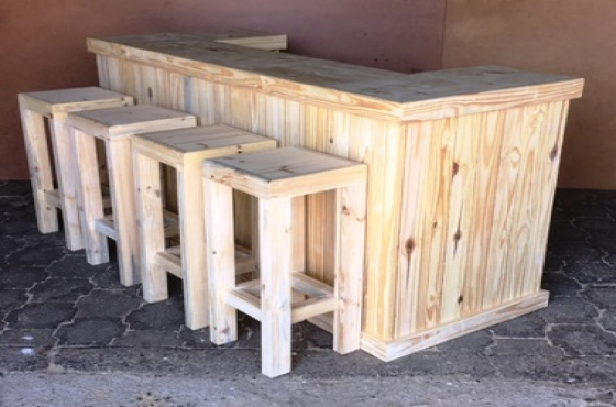 Bar Counter Farmhouse series 2000 and stool Combo - Raw