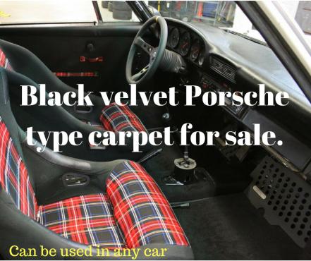 Fluffy black velvet Car carpet very similar to that used in 80's Porsches.