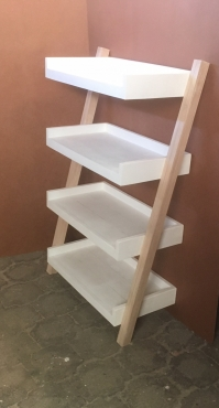 Display unit leaning ladder Cottage series 1350 Four tier (Chalk paint Two tone)