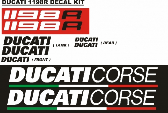 Ducati 1198R decals stickers graphics kit