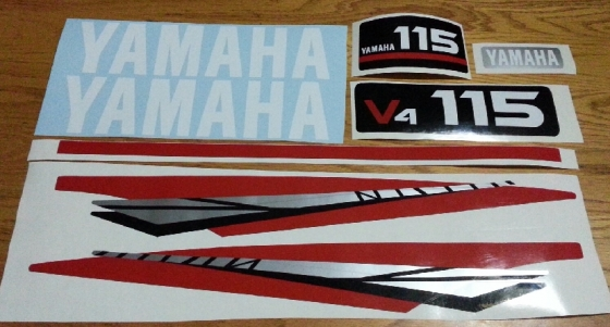 Yamaha 115 HP V4 outboard motor cowl decals stickers graphics kits