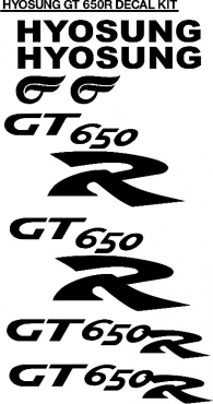 Hyosung GT 125, 250 and 650 decals stickers kits