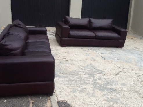 new 2 piece genuine leather lounge suite