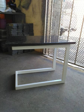 Powder coated steel coffee table