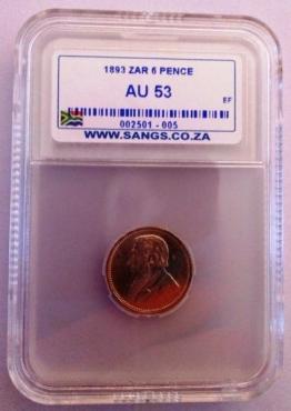 1893 6P Graded AU53 - Extra Fine Value R15000 & UNC Value is R35000 - AU value R25000