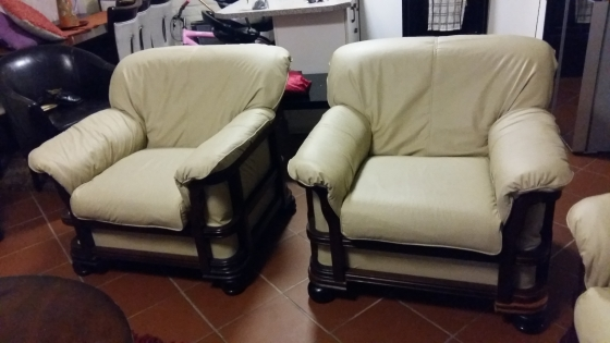 4 piece leather lounge suite new