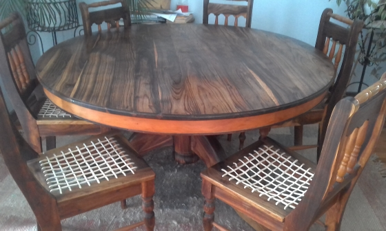 Blackwood Yellowwood Diningroom Table 6 Riempie Chairs