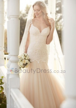 Tulle Appliques Mermaid Style Wedding Dress With Chapel Train South Africa