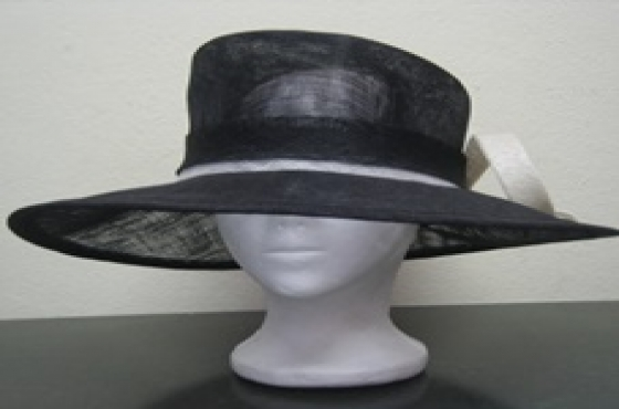Black and White Sinamay Hat