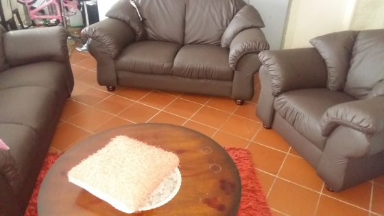 3 pce choc brown leather lounge suite new