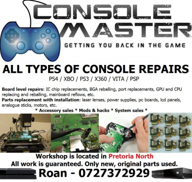 Video game console repairs & mods - Playstation & Xbox - PS4, XBOX