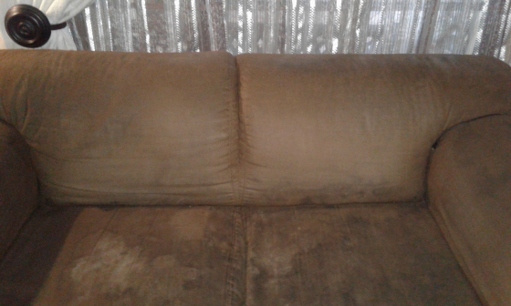 2x2Seater brown Sweude coucghes.in good condision just needs a good ckean .dont have space need to b