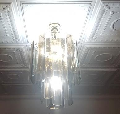 VINTAGE 1960'S CEILING LIGHT BEVELED GLASS