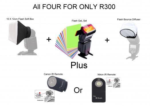 lash Soft Box, Gel set, Diffuser, plus Canon or Nikon ID Remote All for for R300