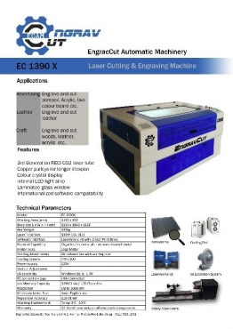 EngravCut 1390X Laser Cutting and Engraving machine 1300 x 900. 100W