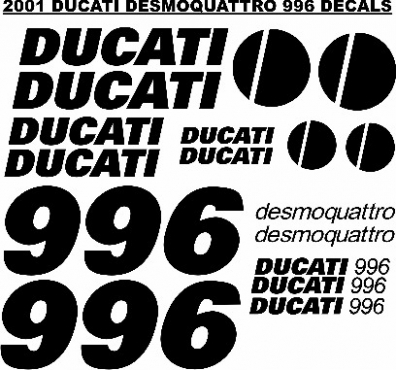 Decals stickers graphics sets for a Ducati 996 motorcycle