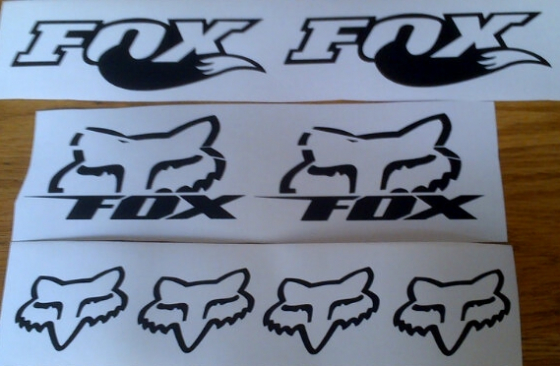 Set off 8 FOX vinyl cut decals stickers graaphics - all colours available