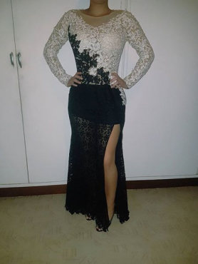 Imported black and white matriek farewell lace dress