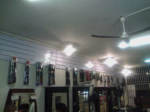 Space available for selling hairpieces and cosmetics in a hair salon