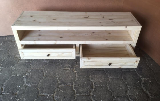 TV display unit Farmhouse series 1600 with two drawers Raw