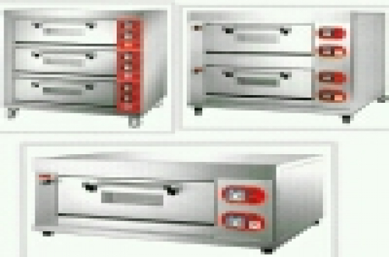 Brand new deck OVENS with trays; bakery equipment