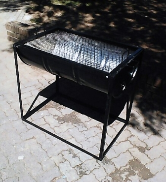 Braai stands -  New and large half drum braai stands with grid and legs R800 each