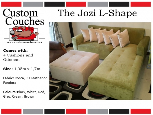 Showroom Open Today at Custom Couches - The L Shape Medium For R5950