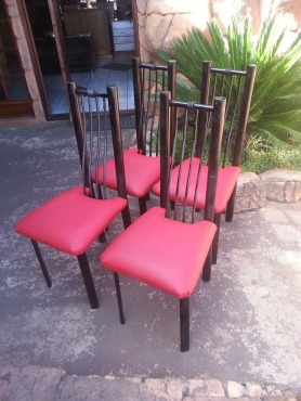 4 x Dining Steel Chairs (Red Seats)