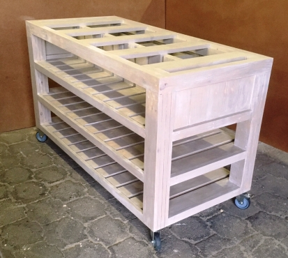 Kitchen Island Cottage Elegant series 1625 with 3 drawers and shelves - Stained