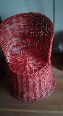 Red cane chair.