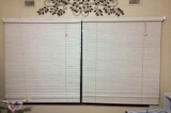 2 white Roll up blinds