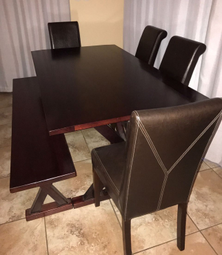 Dining Room Table With 4 Leather Chairs And One Bench