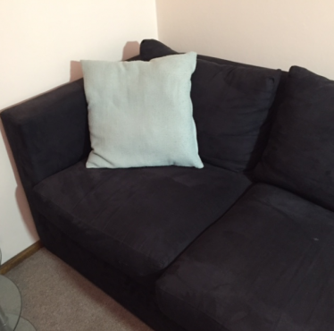 Black suede 2 seater couch for sale