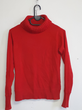 Cashmere Red Pullover Polo neck - medium