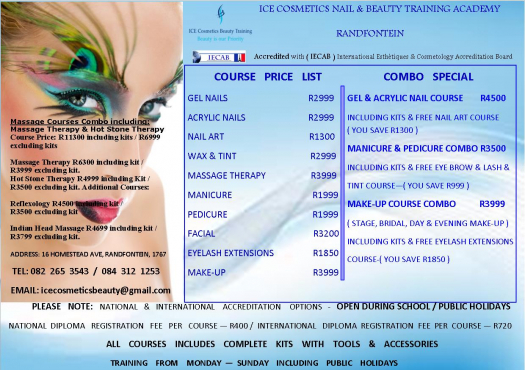 ICE Cosmetics Int Nail & Beauty Training Courses (IECAB) Accredited