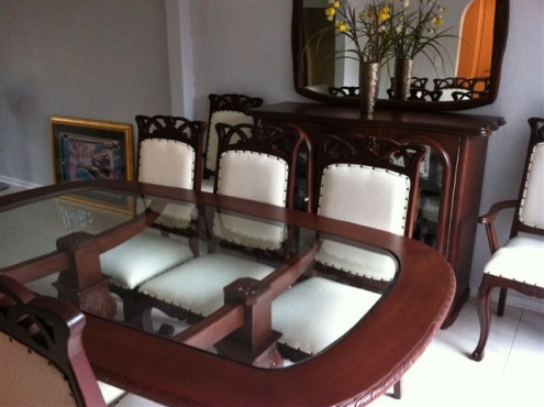 SOLID BEECHWOOD 11 PIECE ONE OF A KIND DINING ROOM SUITE