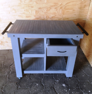 Kitchen Island Farmhouse series 1000 mobile with drawer Grey wash