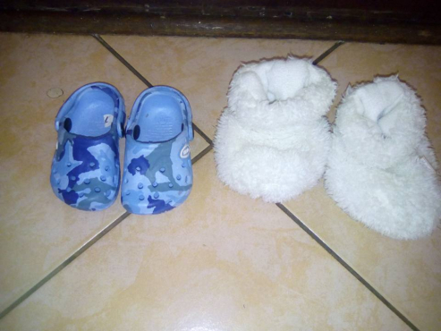 Baby crocs and white slippers