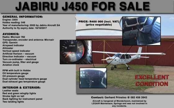 JABIRU J450 FOR SALE | Junk Mail