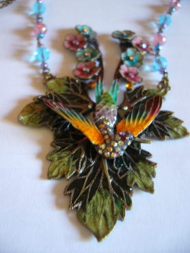 Honey Jewellery * Bejewelled Bird on Grape Leaf Necklace