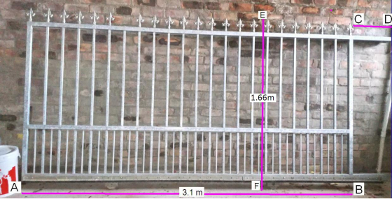 Heavy duty solid steel gate on wheels with track 3.1 x 1.66m. Plus track.