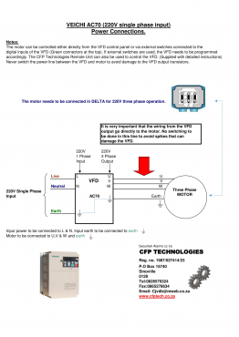 Run three phase motors from single phase using a VFD. Prices on Website www.cfptechnologies.co.za