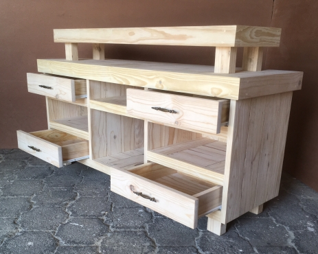TV display unit Farmhouse series 1500 with elevated top - Raw